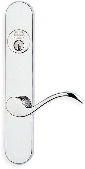 65895 Modern Narrow Backset Lever Lockset - Solid Brass
