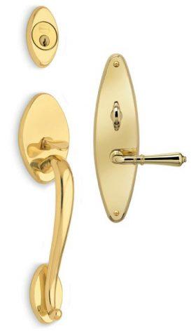 Estate with 752 trim - Exterior Traditional Mortise Entrance Handleset Lockset - Solid Brass