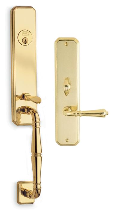 Item No.Manor w/ 752 trim (Exterior Traditional Mortise Entrance Handleset Lockset – Solid Brass)