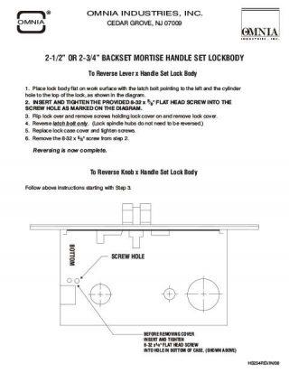 """OMNIA 2-1/2"""" or 2-3/4"""" Backset Mortise Handleset Reversing Instructions"""