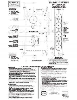 OMNIA 2-1/2″ Backset Mortise Locksets Installation Template