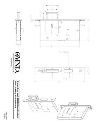 OMNIA 7012, 7035, 7036, 7037 & 7039 Pocket Door Lock Installation Template for Pair Dummy (PD)