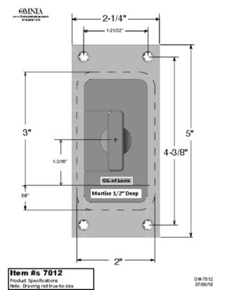OMNIA 7012 Pocket Door Lock Trim Specifications