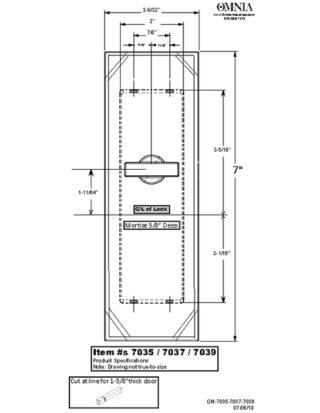OMNIA 7035, 7037, & 7039 Pocket Door Lock Trim Specifications