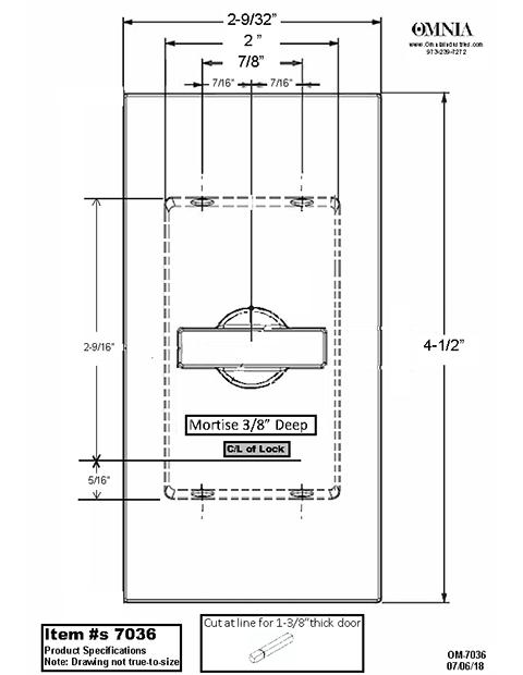 OMNIA 7036 Pocket Door Lock Trim Specifications