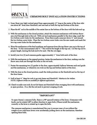 OMNIA Cremone Bolt Sets Installation Instructions