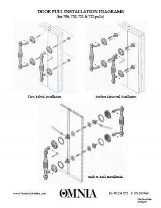 OMNIA Solid Brass Door Pulls Installation Diagrams